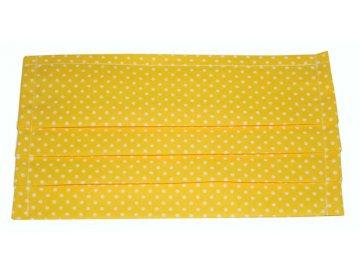 Rouška bavlněná - žlutá s puntíky