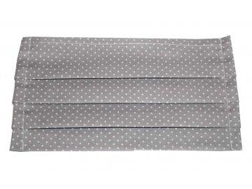 Rouška bavlněná - šedá s puntíky