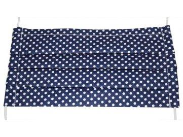 Rouška bavlněná -modrá s puntíky