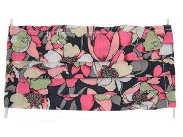 Rouška vzor tulipány