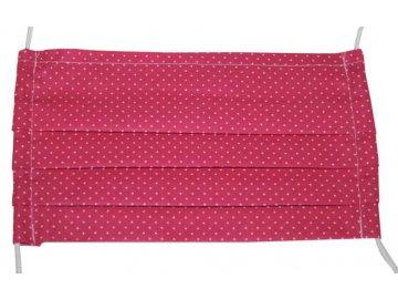Rouška bavlněná růžová s puntíky