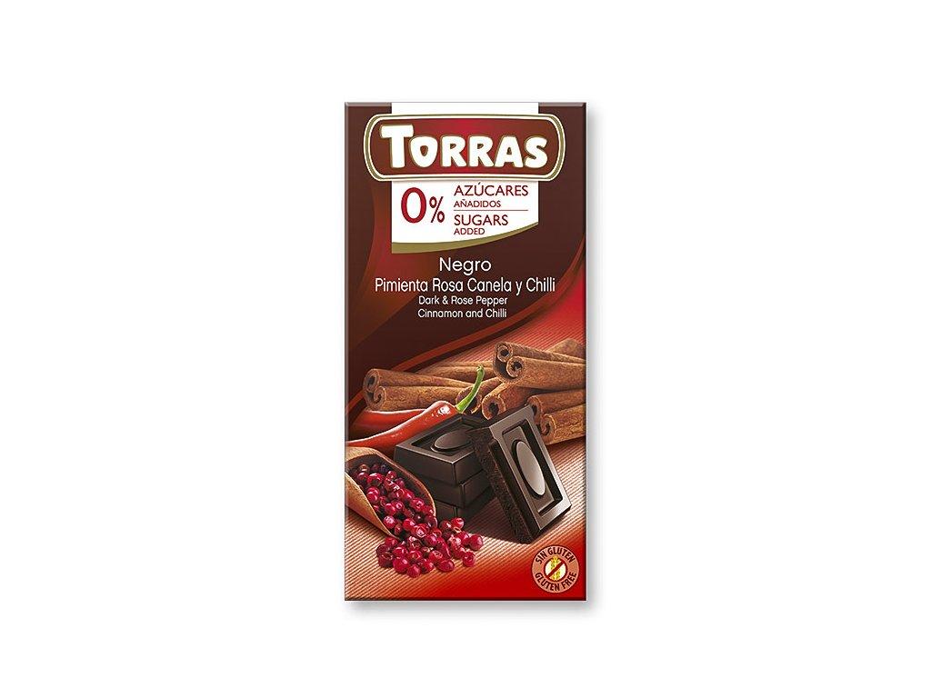torras horka cokolada s cili skorici a ruzovym peprem 75 g
