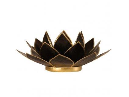 27250 svicen lotus cerny a zlaty 13 5cm