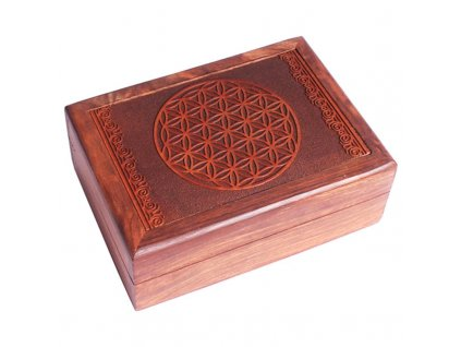 76077 drevena krabicka na tarot nebo sperky kvet zivota 17 5x13x6 5 cm