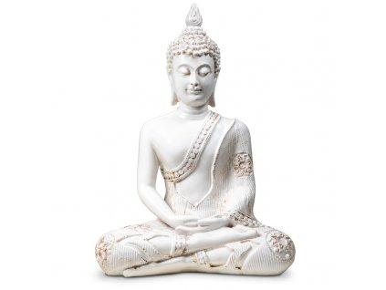 76110 buddha in meditation white thailand 760g 20x11x27 5 cm