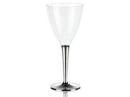 Sklenice na víno se stříbrným okrajem, plast, jednorázové 10 ks