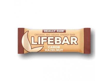 Lifebar tyčinka karobová s lískovými oříšky Bio, Raw Lifefood 47g
