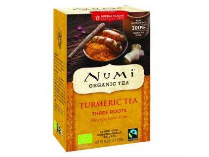Numi čaj Bio kurkumový, Three Roots se zázvorem, lékořicí a růžovými poupaty, 12 sáčků