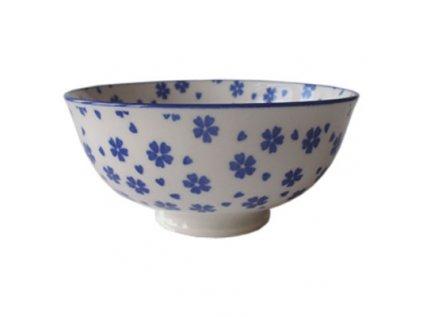 Japonská porcelánová miska na čaj modré květy 12cm