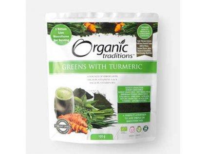 Super Greens s kurkumou 100 g Organic Traditions