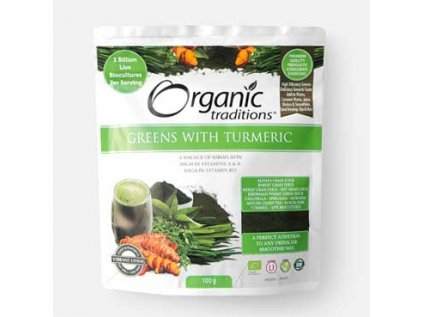 Super Greens s kurkumou 100 g Organic Traditions