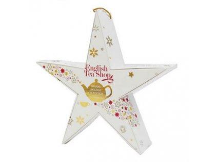 Vánoční Bílá hvězda (červená a zlatá) bio 6 pyramidek čajů, 6 příchutí ETS6