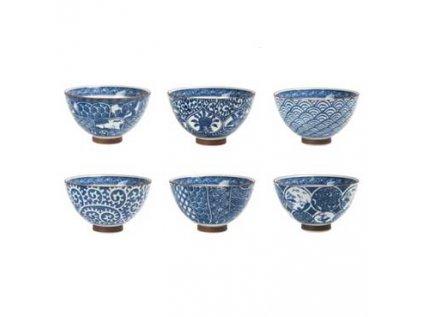 Japonská porcelánová souprava 6 misek Old Japan Blue