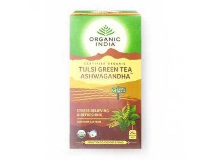 Tulsi Zelený čaj a ašvaganda BIO, 25 sáčků Organic India