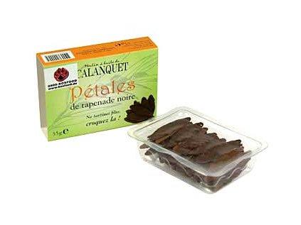 Pečené listy - olivová tapenáda, černé, sušené, asi 40-45 listů, pikantní snack, 35g