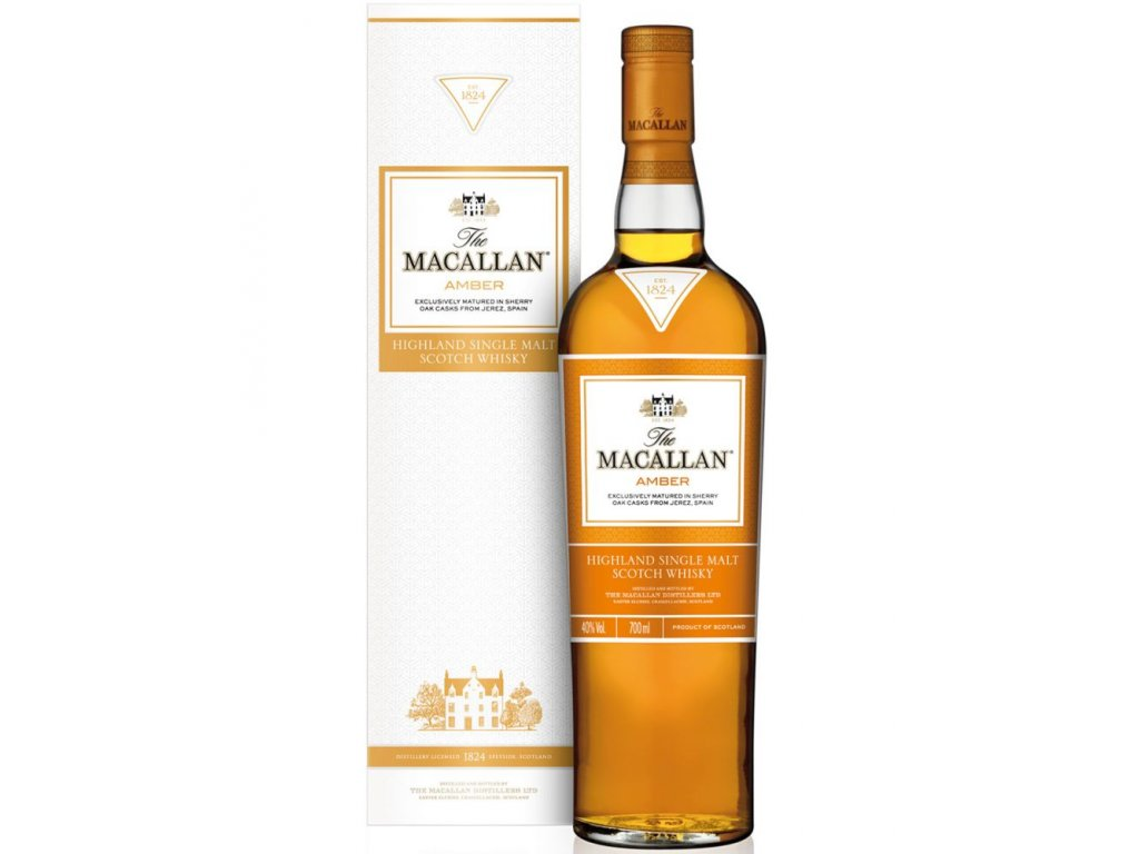 skotska single malt whisky the Macallan amber giftbox