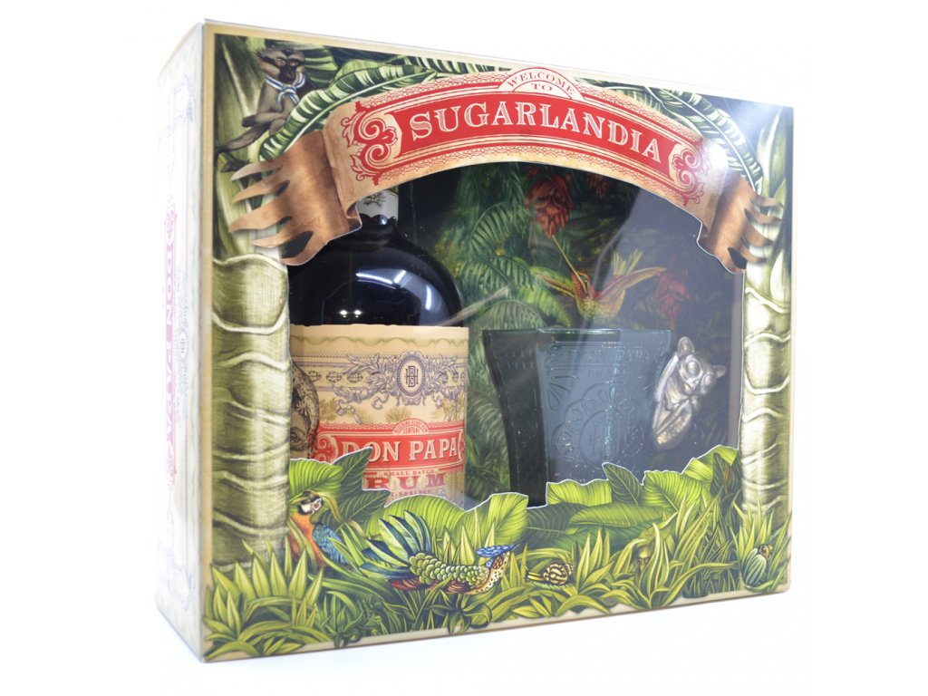 rum don papa box glass