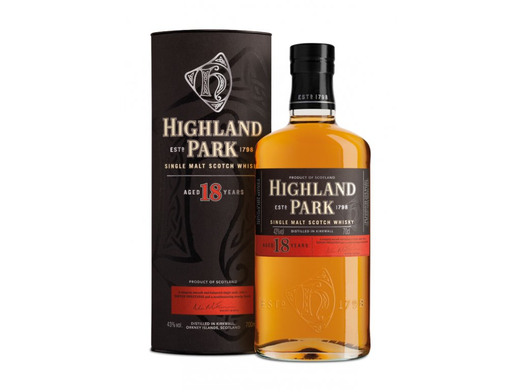 skotska single malt whisky highland park 18 yo giftbox