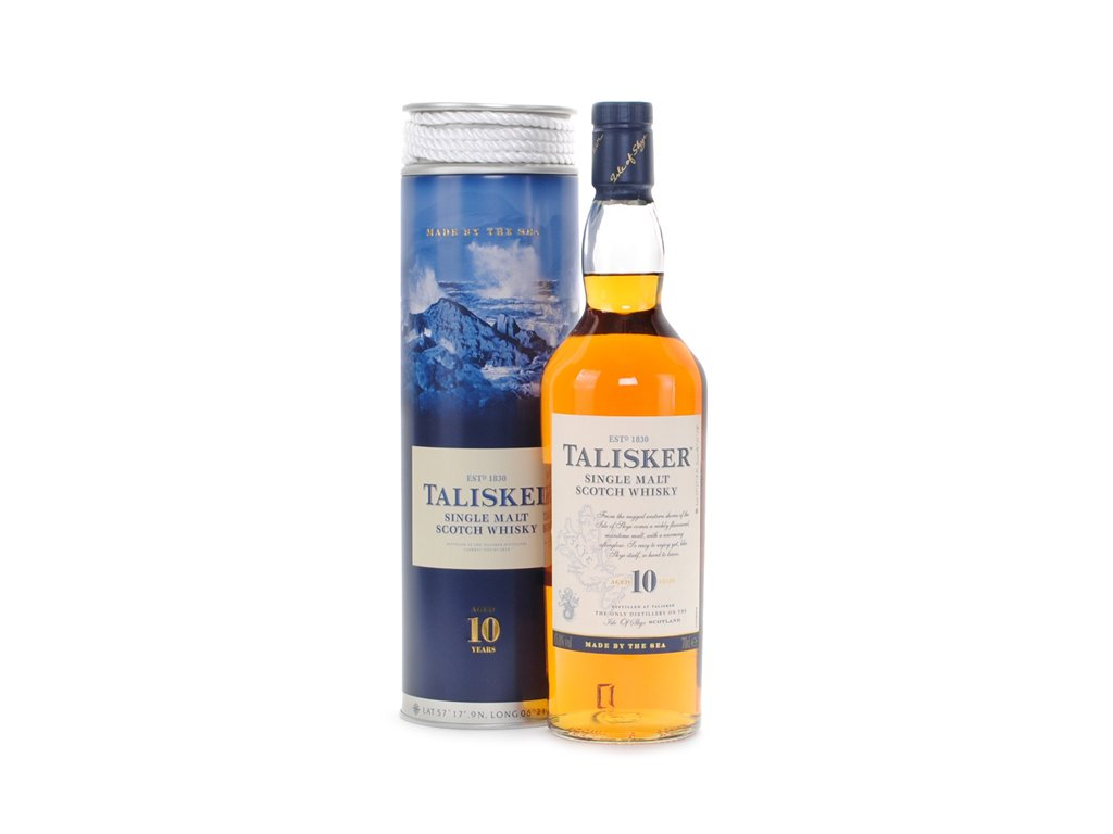 skotska single malt whisky talisker 10 yo giftbox provaz