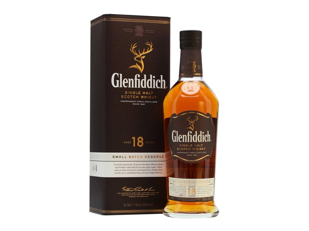skotska single malt whisky glenfiddich 18 yo giftbox