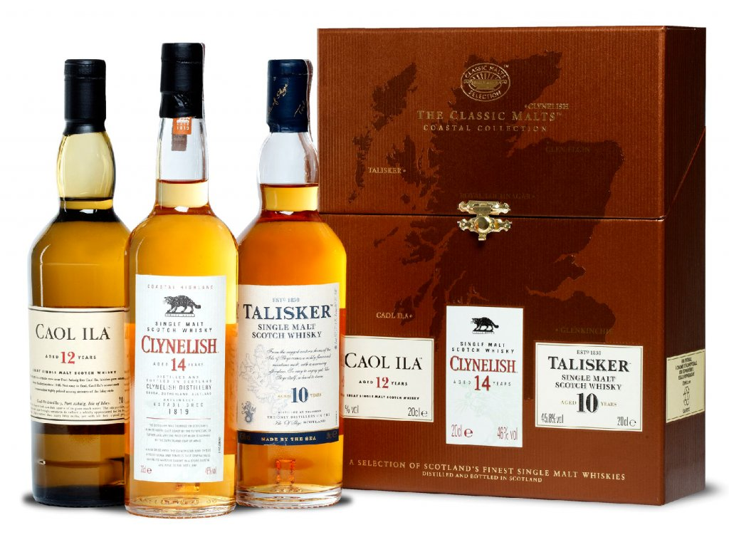 skotska single malt whisky classic malts coastal pack clynelish caol ila talisker darkove baleni