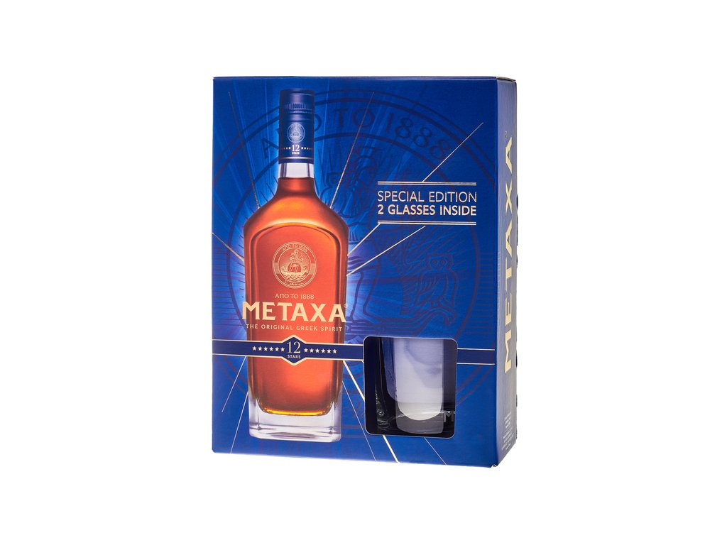 metaxa 12 star with glasses