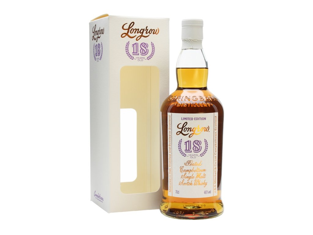 skotska single malt whisky longrow 18 yo peated giftbox