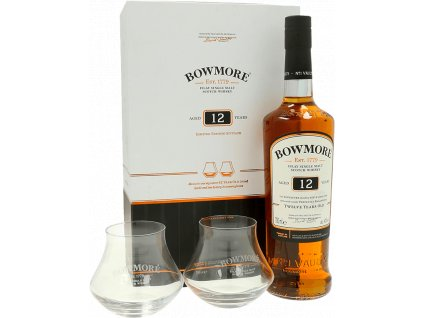 whisky bowmore 12yo glasses