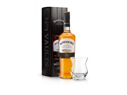 Bowmore 12 yo with glassskotska single malt whisky bowmore 12 yo sklenicka
