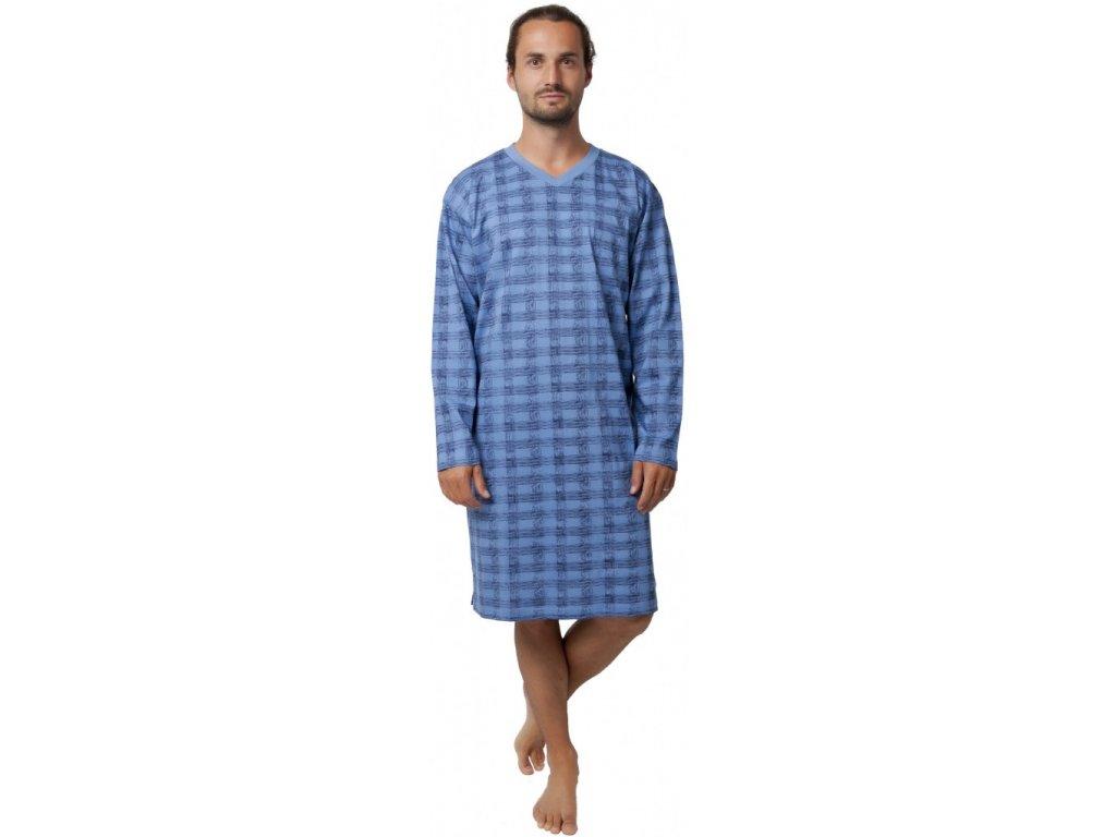 Pánská noční košile dl.rukáv modrá CALVI 19-531