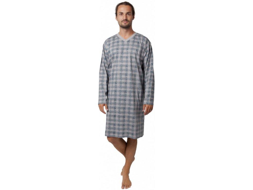 Pánská noční košile dl.rukáv šedá CALVI 19-531