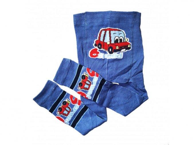 Chlapecké bavlněné punčochové legínky auto světle modré