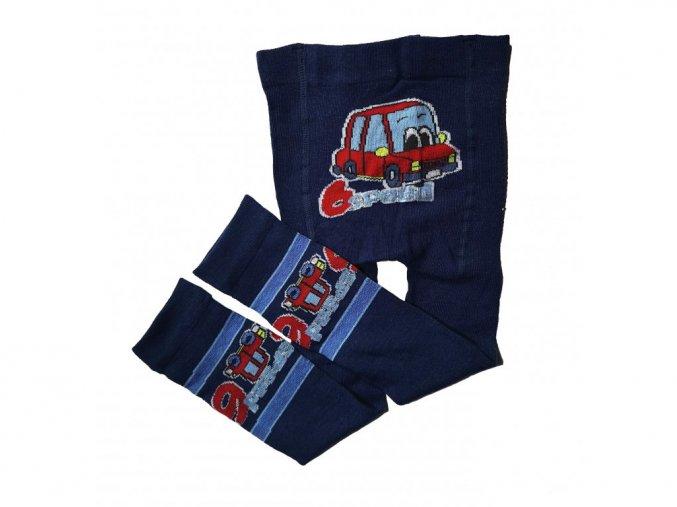 Chlapecké bavlněné punčochové legínky auto tmavě modré