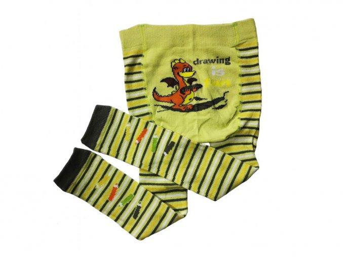 Chlapecké bavlněné punčochové legínky dráček žlutý