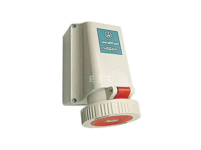 Nástěnná zásuvka 63 A, 5P, 400 V, 6h, IP 67 (169)