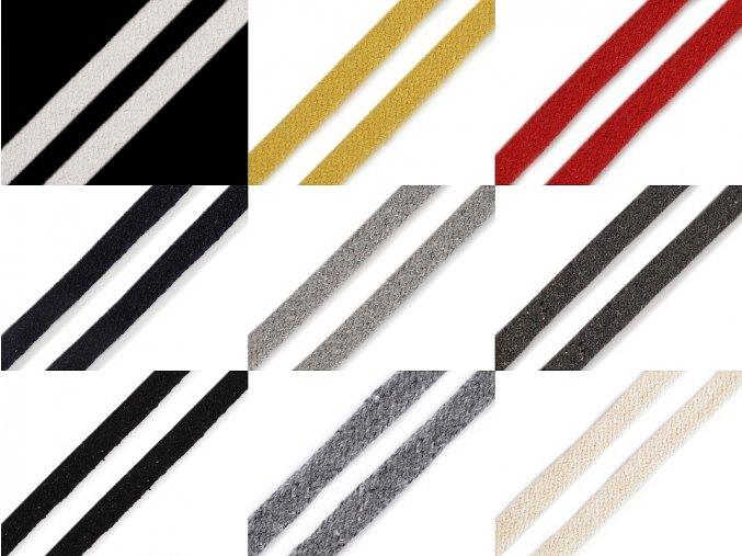 Šňůra plochá / dutinka šíře 10 mm různé barvy
