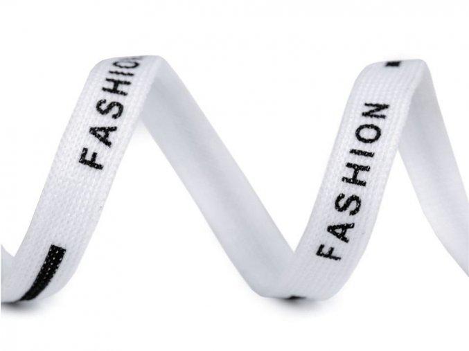 Oděvní šňůra plochá, šíře 10 mm Fashion bílá