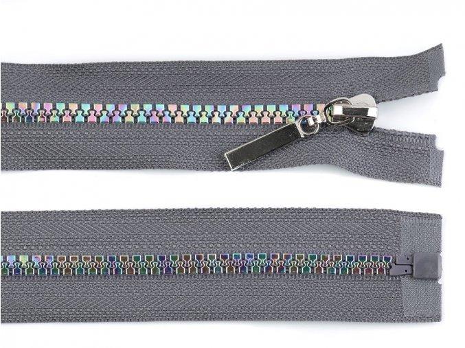 Duhový kostěný zip šíře 5 mm délka 70 cm šedý