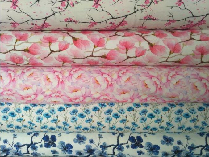 bavlněný úplet modrá třešeň