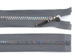 Duhový kostěný zip šíře 5 mm délka 50 cm šedý