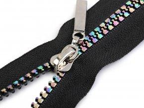 Duhový kostěný zip šíře 5 mm délka 50 cm černý