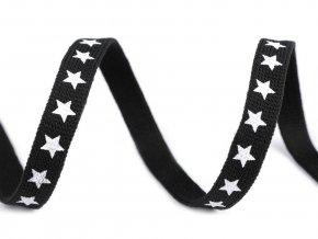 Oděvní šňůra plochá, šíře 10 mm hvězdy černá