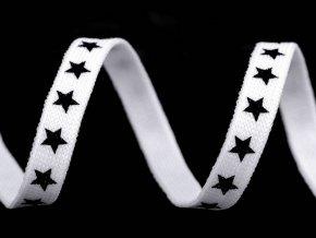 Oděvní šňůra plochá, šíře 10 mm hvězdy bílá