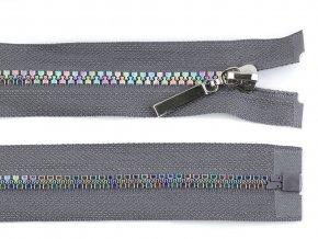 Duhový kostěný zip šíře 5 mm délka 80 cm šedý