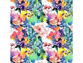 akvarelové květy barevné