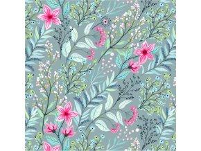 akvarelové květy na tmavě mentolové