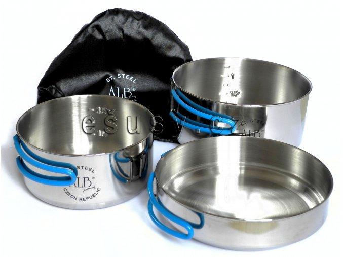 Alb Makalu - sada nerezového nádobí / nerezový ešus - třídílný