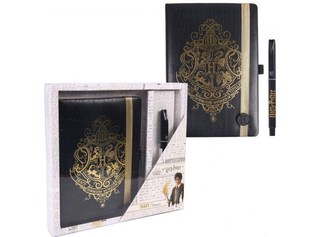Poznámkový blok s propiskou Harry Potter: Hogwarts set 2 kusy (A5 14,8 X 21 cm) 240 stran