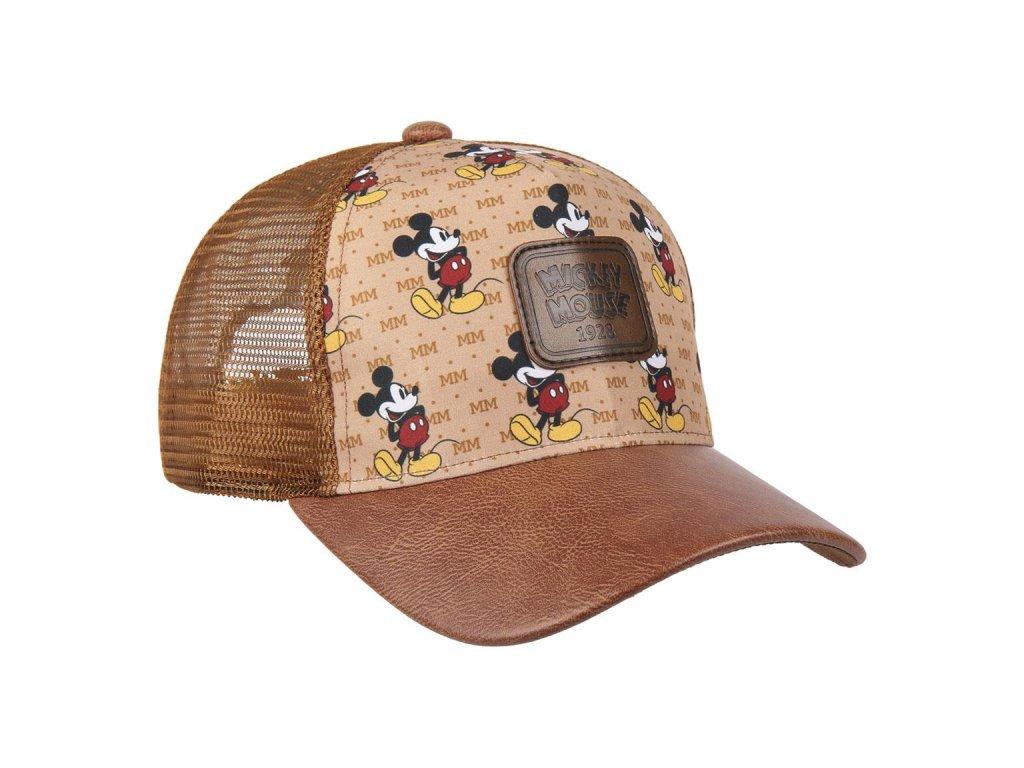 Kšiltovka Disney: Mickey Mouse (obvod 58 cm) hnědý polyuretan