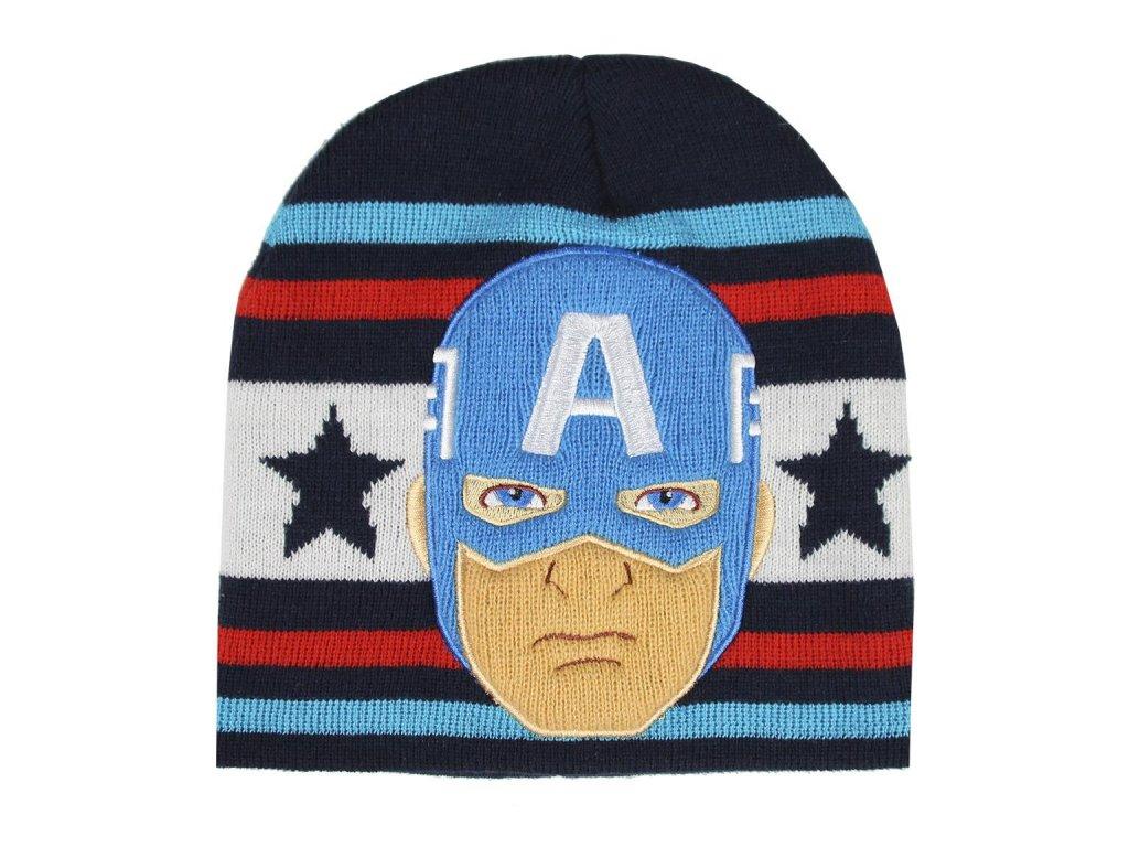Dětská zimní čepice Marvel: Captain America (univerzální) černý akryl